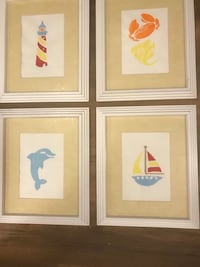 Beach Prints. Sailboat, dolphin, lighthouse, crab/fish.