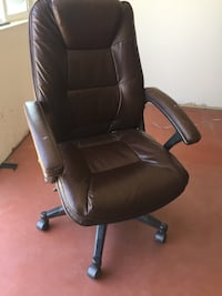 Brown leather adjustable office chair
