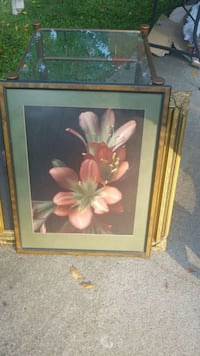 brown wooden framed painting of pink flowers Lawrenceville, 30046