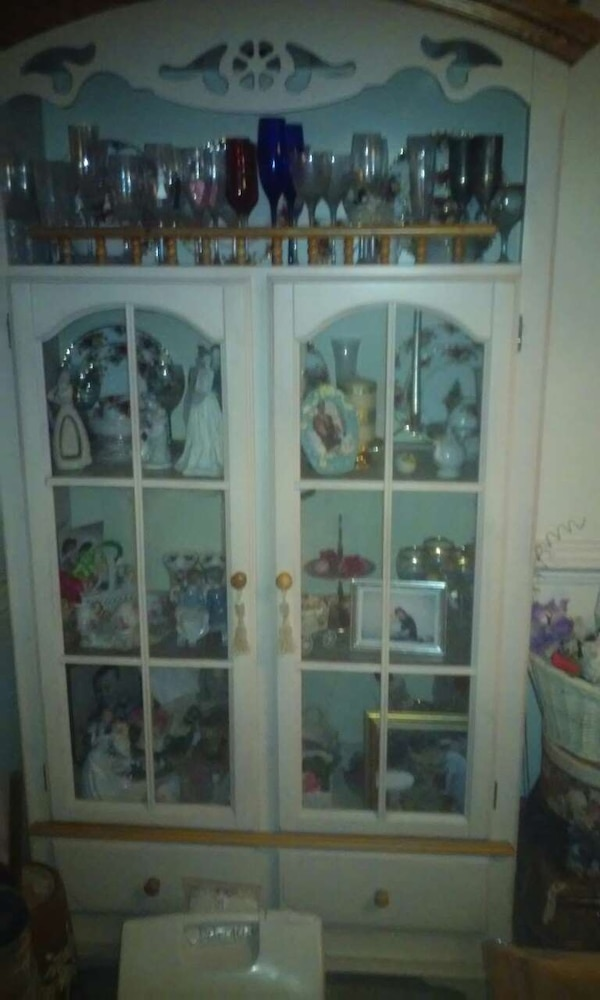 Used Antique white glass door china hutch cabinet for sale ...