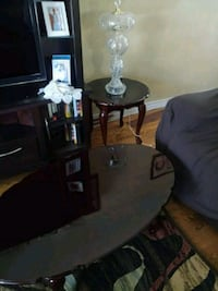 Wood coffee table set with crystal lamps Brampton