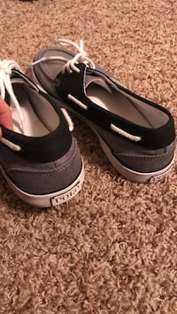 pair of black-and-gray Ralph Lauren Polo boat shoes