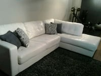 white leather sectional sofa with pillows Airdrie