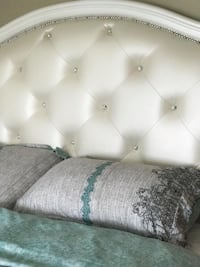 Queen bed frame with beautiful pearl crystal headboard and drawers