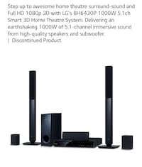 LG full sound system comes with 5 speakers and base.  Easy to use and set up  lg bh6430p Oakdale, 15071
