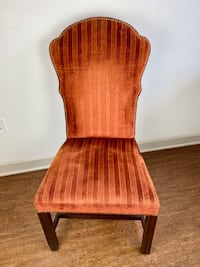 Burnt Orange Red-Orange Upholstered Accent Chair with Nailhead Trim