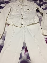 women's white denim jacket and pants