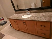 Vanity with granite counter top 5ft 8 inches long width 2ft 10 inches