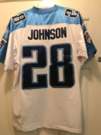"""Reebok Authentic NFL Jersey Tennessee Titans Chris Johnson White sz 50. 50"""" ard chest. 34"""" shoulder to hem. Officially licensed by the NFL Authentic on field jersey with spandex side panels, elastic sleeves, fully sewn numbers, name plate, logo and letter Murfreesboro, 37128"""