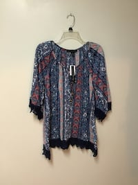 Women's FRENCH LAUNDRY thin soft multicolor top w/ lace trim-small Manasquan, 08736