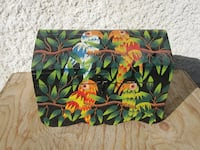 Vintage Artisan Hand Crafted, Hand Painted Wooden Parrot Art Chest Tre
