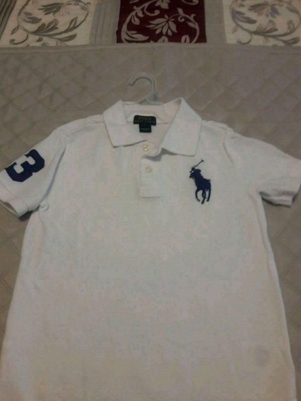 Boy's white Ralph Lauren polo shirt