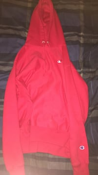 red Champion pullover hoodie