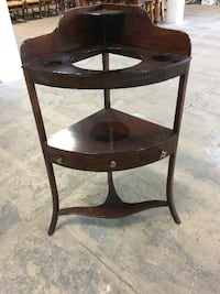 round brown wooden side table Whittier