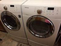 Samsung front loading washer and dryer set with storage cabinets  Clackamas, 97015
