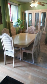 rectangular brown wooden table with six chairs dining set Laval, H7M 5W8