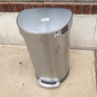 Brushed Stainless Steel Fingerprint-Proof Semi-Round 10-Liter Step-On Trash Can Bloomfield, 07003