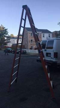 Brown and gray steel a-frame ladder 33 mi