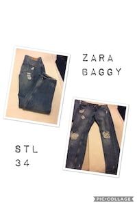 blå Zara Baggy distressed jeans i pic collage Helsingborg, 256 64
