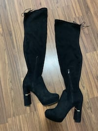 pair of black suede knee high boots Toronto, M6G