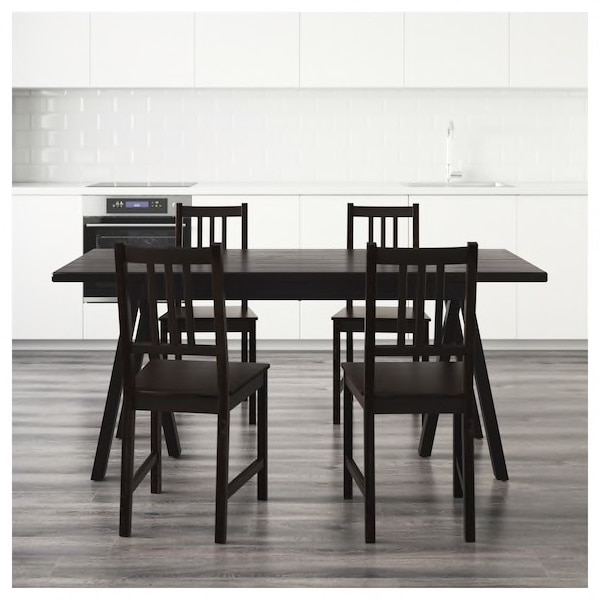 Black ikea table and 4 chairs