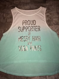 white and teal tank top