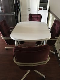White wooden table with four maroon padded chair set Lethbridge