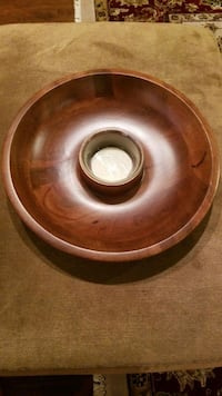 Wooden chip tray w/glass dip bowl  Forney, 75126