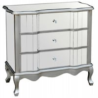 LAST ONE! *** MIRRORED NIGHT TABLE WITH FRENCH WOODEN LEGS & DIAMOND KNOB