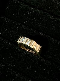14k White Gold Blue Sapphire And Princess Cut Diamond Ring Size 6.5 Los Angeles, 90012