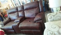 brown leather 3-seat recliner sofa 43 km