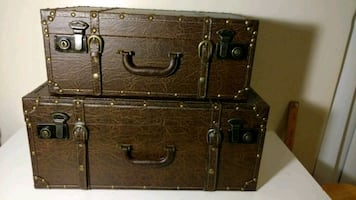 19 in + 23 in decorative treasure chest style suitcases