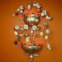 Vintage Italian Lighting Electrified Toleware Wall Sconce Hollywood Regency Gold Gilded Leaves and Porcelain Flowers Huge Gainesville