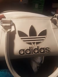 white and black Adidas leather handbag