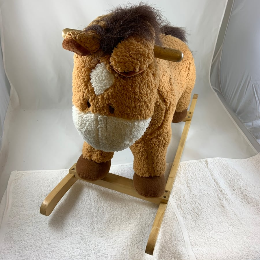 Wooden stuffed animal horse kids rocking chair antique