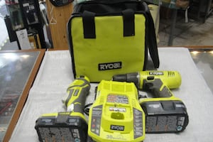 RYOBI 18 Volt Drill Multi Tool Charger and Two Batteries 5584-1