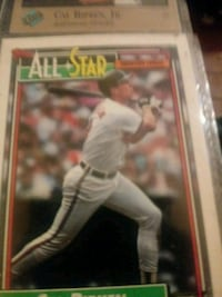 white and red baseball player trading card Baltimore, 21223