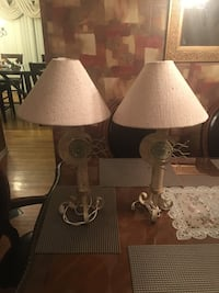 Two beige conical table lamps hand crafted.