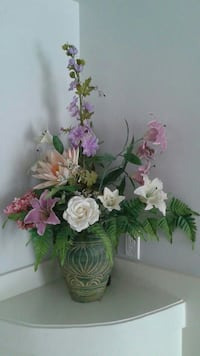 White rose and lily, pink lily & purple delphinium flower centerpiece