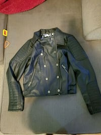 black and gray leather zip-up jacket Salina, 67401