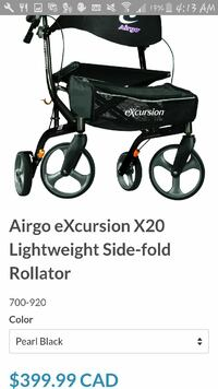 Airgo eXcursion X20 lightweight side-fold rollator screenshot