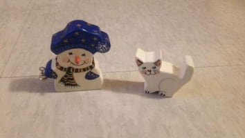 Snowman and Cat Figurines
