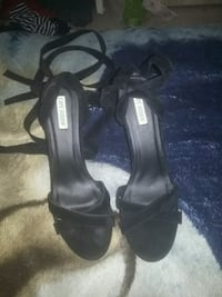 pair of black open toe ankle strap heeled sandals Fresno, 93706