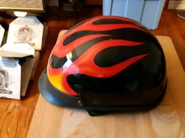 red and black motorbike helmet (DOT)M-L