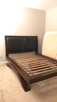 Sturdy wooden platform bed with upholstered headboard