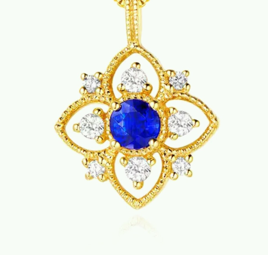Photo Real Silver 925 Yellow Gold Color Necklace with Sapphire Zircon