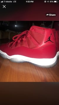 pair of red Air Jordan 11 Silver Spring, 20904