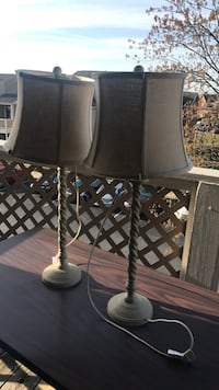 two gray metal base table lamps with white lampshades 29 mi