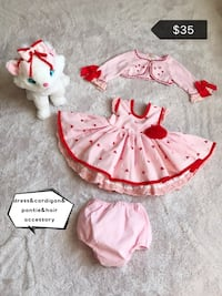 Girl's white and pink dress Frederick, 21701