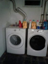 white front-load washer and dryer set
